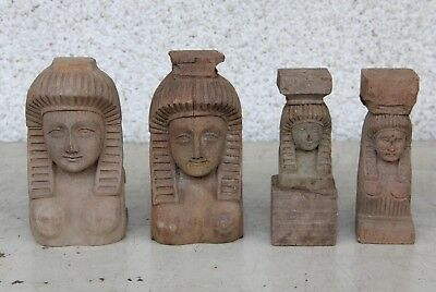 4 X Stunning Hand Carved Wooden Egyptian Style Bust Gothic Carvings