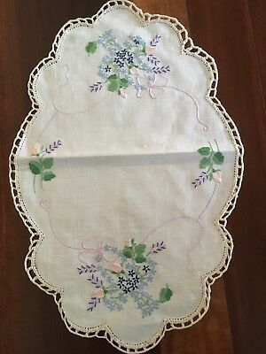 Vintage linen embroidered Forget Me Not Lavender Rose Basket Centrepiece Doily