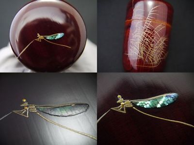 Japanese Traditional Lacquer Wooden Tea caddy A DAMSELFLY makie Long-Natsume 406