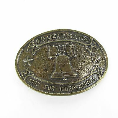 """Vtg 70s 1776 """"LIBERTY BELL"""" 1976 Ring For Independence Belt Buckle"""
