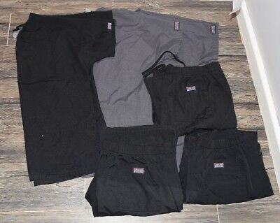 Lot of 6 Cherokee Unisex Scrubs Black and Grey 3 Tops 3 Pants Mens Small S Women