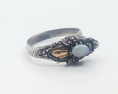 Vintage Asian Chinese? Dragon Sterling Silver Gold Opal Ladies Ring Adjustable