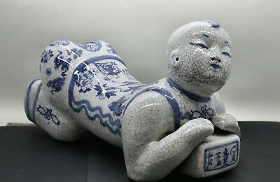 Beautiful Recumbent Figurine Hand Painted Vintage Chinese Porcelain Pillow