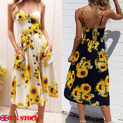 e744b59460 UK Summer Womens Holiday Floral Sundress Ladies Buttons Beach Party Midi  Dress