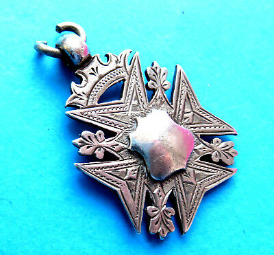 Antique 2 Side Sterling Silver  Crown Top Watch Chain Fob,pendant,date1909