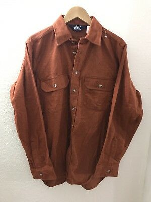 101653653f7 VINTAGE WOOLRICH CHAMOIS CLOTH Button Up Shirt ORANGE MADE IN USA LARGE