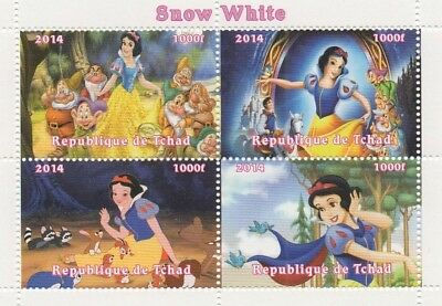 Snow White And The Seven Dwarfs Disney Tchad 2014 Mnh Stamp Sheetlet