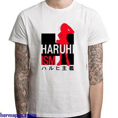 New Haruhiism Japanese Anime Logo Men's White T-Shirt Size S to 3XL