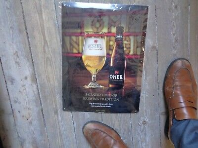 Omer reclame beer sign metal new in blister 5 generations of brewing tradition