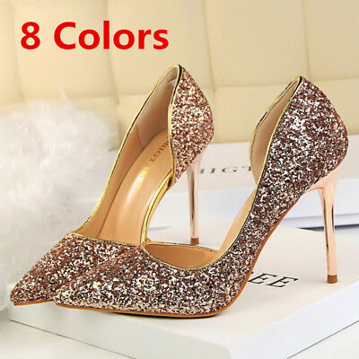 Women Classic Pumps Bling Stilettos Slip On High Heel Wedding Party Ladies Shoes