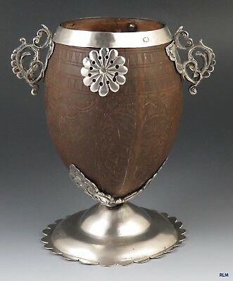 Antique 1750-1850 Spanish Colonial Hand Carved Coconut & Silver Cup