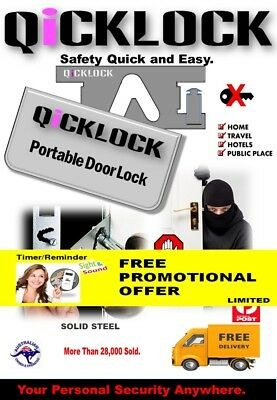 Travel Security Portable Door Lock + FREE Timer With Reminders Sight & Sound.