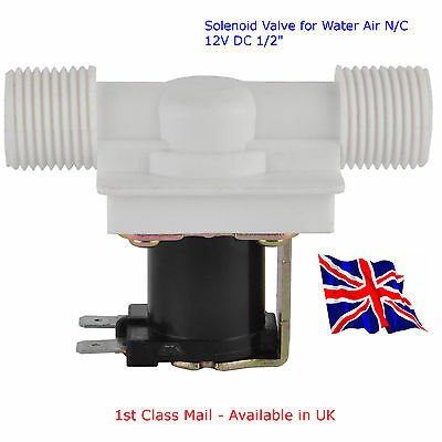"""DC12V Magnetic Solenoid Valve for Water Air - N/C 12V DC 1/2"""" Available in UK"""