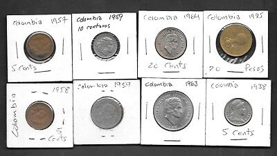 Lot of 8 Circulated Coins from Colombia - Mixed Bunch