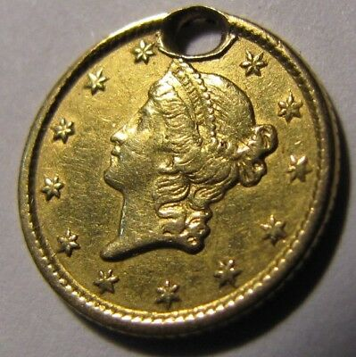 1854 Liberty Head $1 Gold Coin Nice Holed