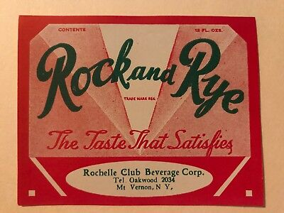 RARE - New Old Stock mint - Vintage - Rock and Rye - Rochelle Club Beverage Corp
