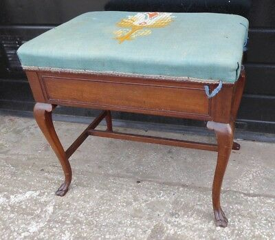 Antique Oak Piano Stool with Under Seat Storage (b)