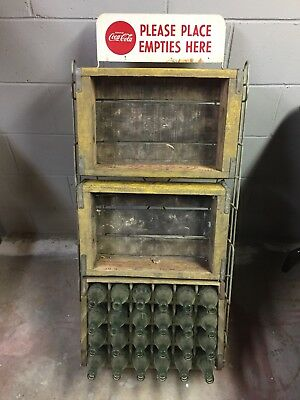 Coca Cola 1960's Wood Crates, Folding Empties Bottle Return Rack Stand with Sign