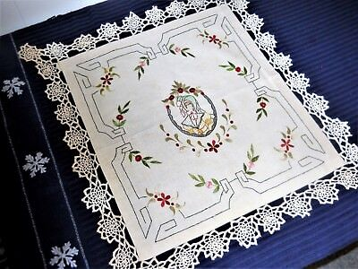 "VINTAGE~21"" x24~EMBROIDERED~TABLECLOTH~VICTORIAN LADY~CROCHET/TATTED EDGES"