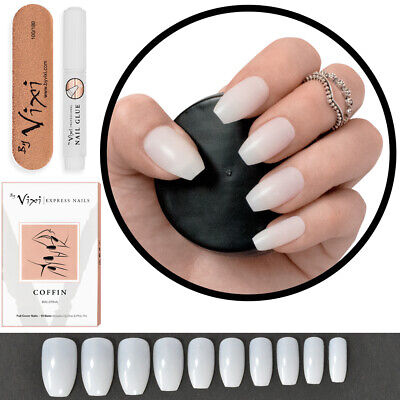 100 x SHORT COFFIN STICK ON Full False Nails DIY Nail Art Kit OPAQUE ✅ FREE GLUE