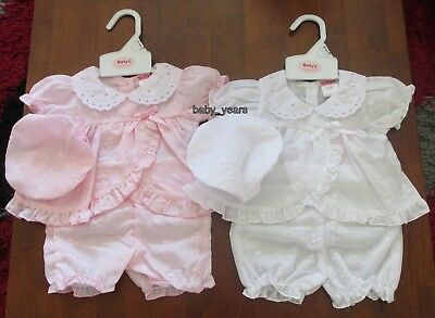 Premature Baby Girls Summer Prem Outfit Broderie Anglaise Dress Bloomers Hat