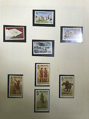 Isle of Man Stamp Collection 10 sheets of Mint stamps and 1st Day Cover