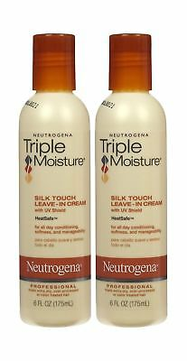 2 Pk Neutrogena Triple Moisture Silk Touch Leave In Cream Heat Safe 6 Oz