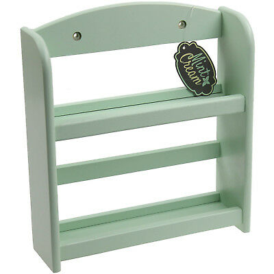 2 Tier Wood Mint Green Kitchen Spice Rack Shelf Storage Organiser Display Stand