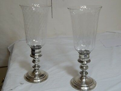 Pair Of Sterling Gorham Hurricane Lamps,  Candle Holders,  1190, Swirl Chimneys,