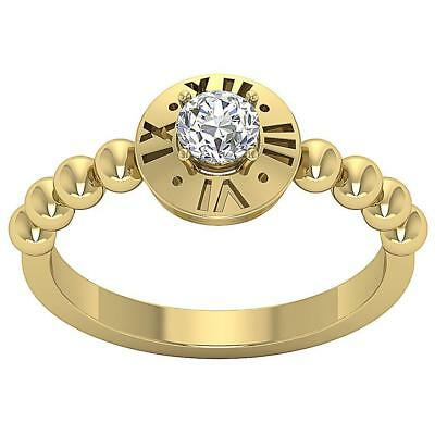 Solitaire Anniversary Natural Diamond Ring SI1 H 0.30Ct 14Kt Yellow Gold SZ 5-9