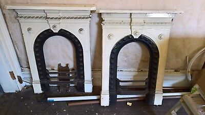 Pair of Antique Victorian Cast Iron Bedroom Fireplace
