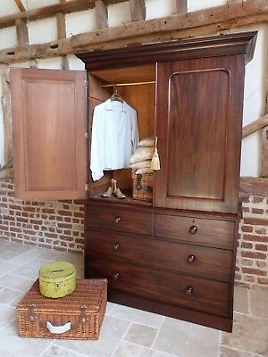 Classic Victorian mahogany linen press cupboard - chest of drawers - wardrobe