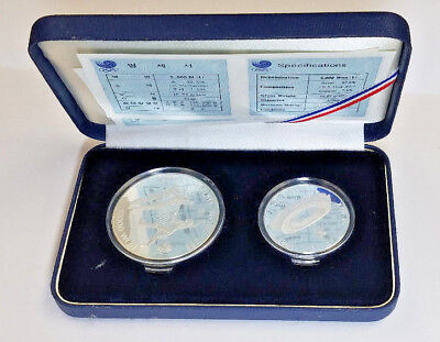 1988 Seoul Olympic 2 Coin Silver Set Volley Ball Proof Coins with box and COA