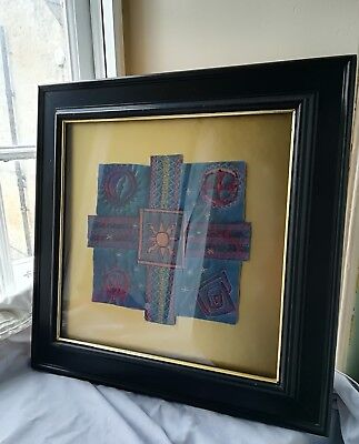 """Framed embroidery picture cross ORIGINAL textile art Byzantine 44cm square 17.5"""""""