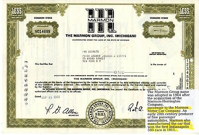 The Marmon Group Incorporated of Michigan 1968 Stock Certificate
