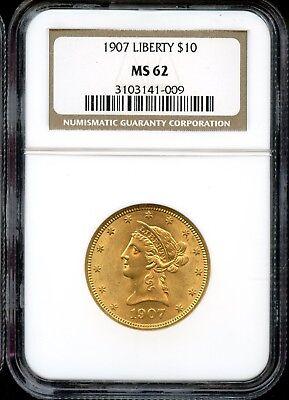 Amazing 1907 NGC MS 62 United States $10 Liberty Head 90% Gold Coin FB427