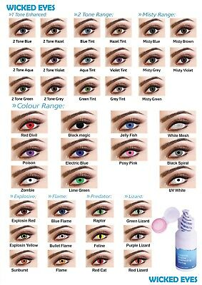 Wicked Eyes ® Coloured 30 Days Fashion Contact Lenses Cosmetic Makeup Eye Shadow