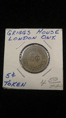 Vintage Griggs House London Ontario Canada Good For 5c Token 23mm White Metal