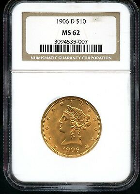 Amazing 1906-D NGC MS 62 United States $10 Liberty Head 90% Gold Coin FB428