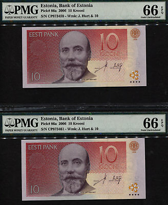 "TT PK 86a 2006 ESTONIA 10 KROONI ""JACOB HURT"" PMG 66 EPQ GEM UNC SET OF 2 NOTES!"