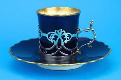 AYNSLEY Navy/Gold ART DECO Coffee Demitasse Cup/Can SILVER Holder HM 1924