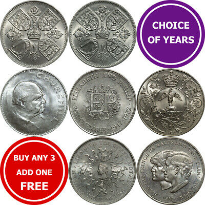 UK Crown Coins : 1935-1981 : Churchill Diana Jubilee Dragon Horse Queen Mother