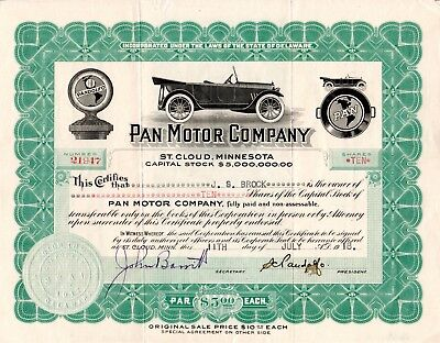 Pan Motor Company of St. Cloud, Minnesota 1918 Stock Certificate