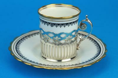 AYNSLEY Demitasse ART DECO Black Coffee Cup/Can Saucer & HM SILVER Holder 1926