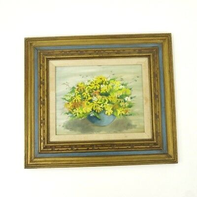 """Vintage """"Study in Daisies"""" 1970 Signed Still Life Ornate Framed Oil Painting"""