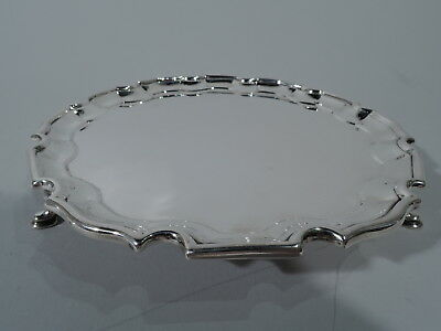 George VI Salver - Traditional Georgian Piecrust Tray - English Sterling Silver