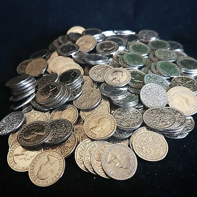 Bulk Lot Clean Lucky Sixpence 6d Coins - Mixed Years - Choose from 10 to 1000