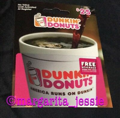"""Dunkin Donuts Coffee New Hanger Gift Card """"cup"""" 2017 No Value Dd Fd-57882 Pink"""