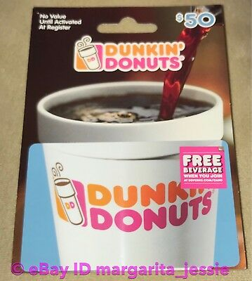 """Dunkin Donuts Coffee New Hanger Gift Card """"cup"""" 2017 No Value Dd Fd-55852 Blue"""