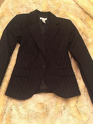 Worthington Stretch Women's Black PinStripe Blazer Size 4 Work Career jacket